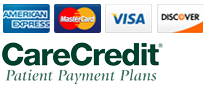 We Accept AmEx Mastercard VISA Discover CareCredit Cash and Checks